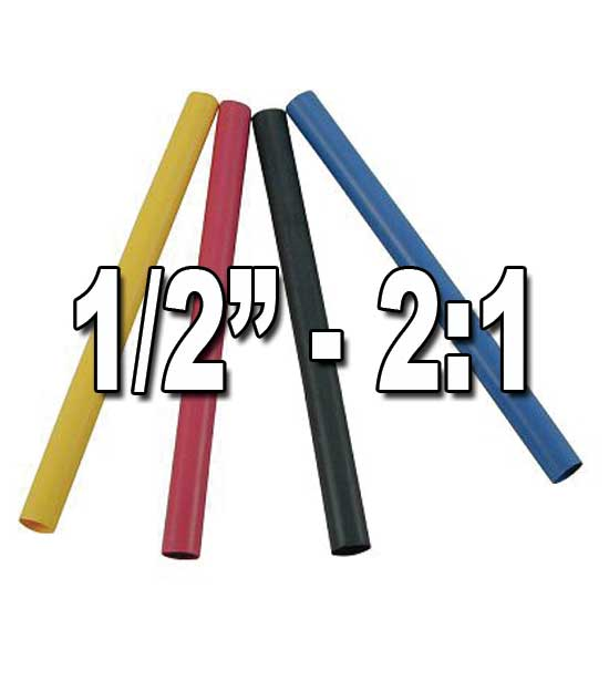 "1/2"" (.500"") 12.70mm 2 to 1 Single/Thin-Wall Polyolefin Heat Shrink Tubing"