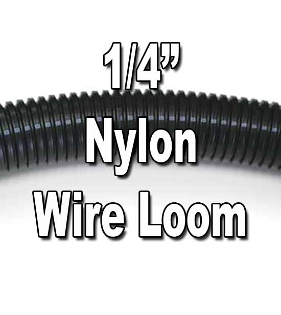 "1/4"" Diameter NYLON Split Wire Loom Flex-Guard Convoluted Tubing 1/4"" Diameter NYLON Split Wire Loom Flex-Guard Convoluted Tubing"