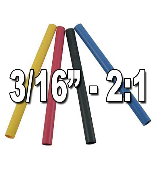 "3/16"" 2:1 Single/Thin Wall Heat Shrink Polyolefin Tubing"