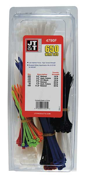 650 PCS Nylon UV Black, Natural & Color Wire Tie Kit