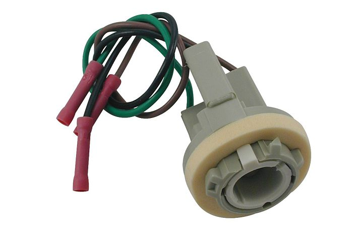 3-Wire Ford Double Contact Tail & Stop Light Socket w/ Butt Terminated Wires.