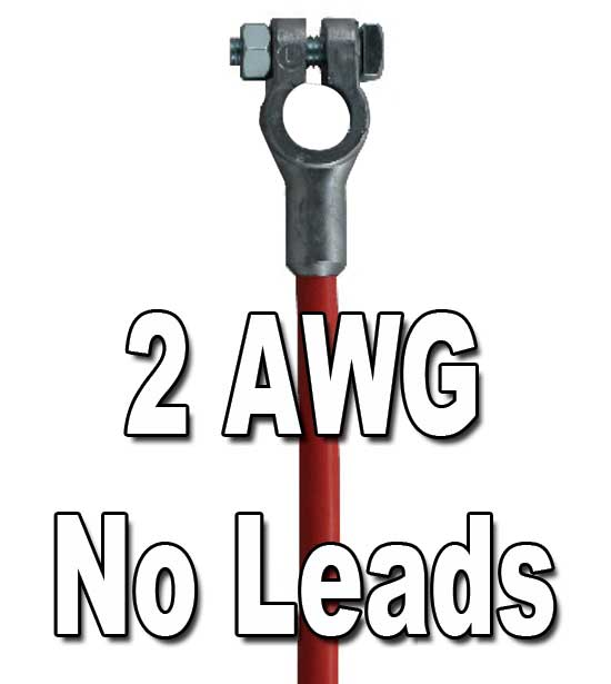 Top Post Battery Cable, 2 AWG, w/o lead