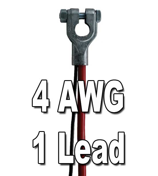 Top Post Battery Cable, 4 AWG, w/1 lead