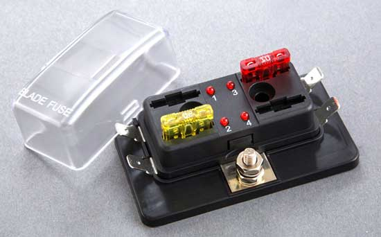 2451F - 4 Position ATC/ATO Fuse Block with LED Indicator Light 2451F - 4 Position ATC/ATO Fuse Block with LED Indicator Light