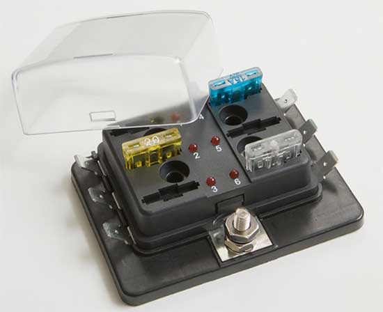 2455F - 6 Position ATC/ATO Fuse Block with LED Indicator Light 2455F - 6 Position ATC/ATO Fuse Block with LED Indicator Light