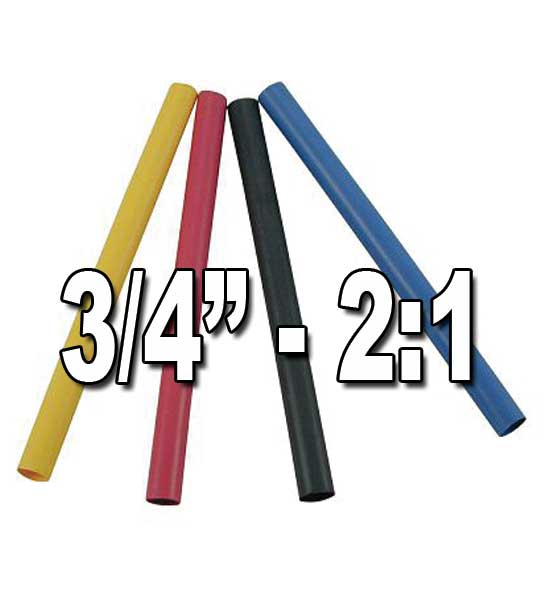 "3/4"" (.750"") 19.05mm 2 to 1 Single/Thin-Wall Polyolefin Heat Shrink Tubing"