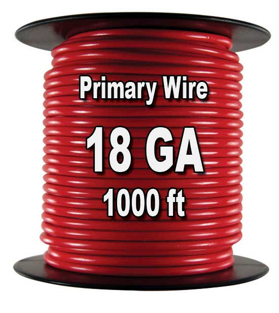 Automotive Primary Wire, 18 AWG, 1000 Ft. Spool