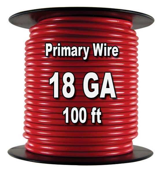 Automotive Primary Wire, 18 AWG, 100 Ft. Spool