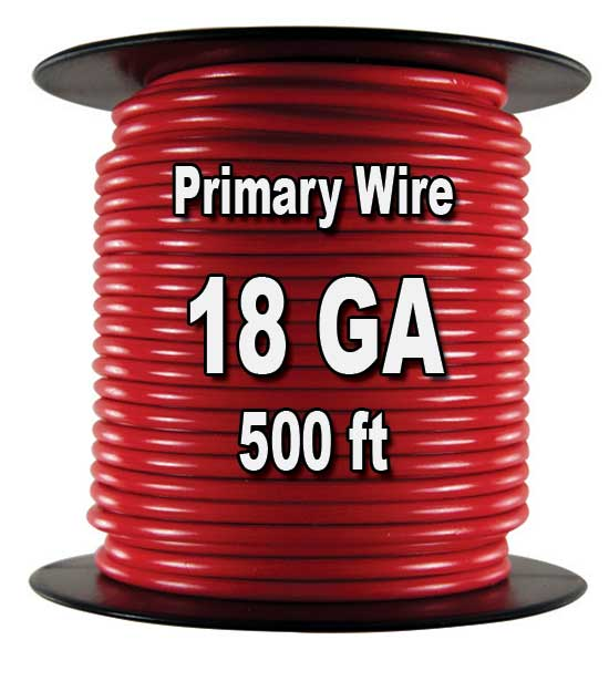 Automotive Primary Wire, 18 AWG, 500 Ft. Spool