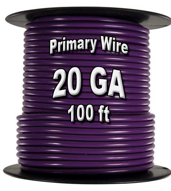 Automotive Primary Wire, 20 AWG, 100ft Spool