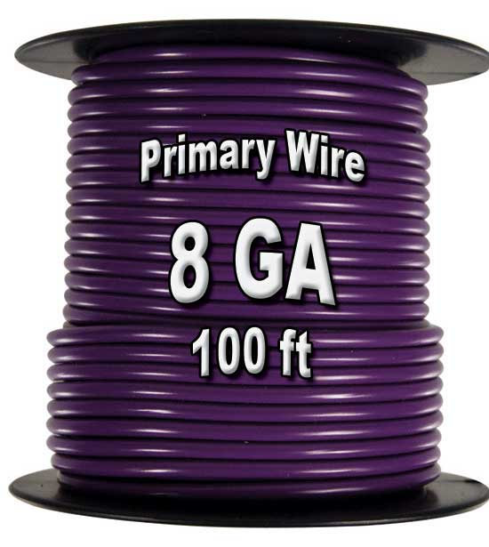 Automotive Primary Wire, 8 AWG, 100 Ft Spool