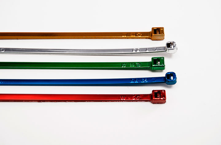 Chrome-Plated Cable Ties various colors