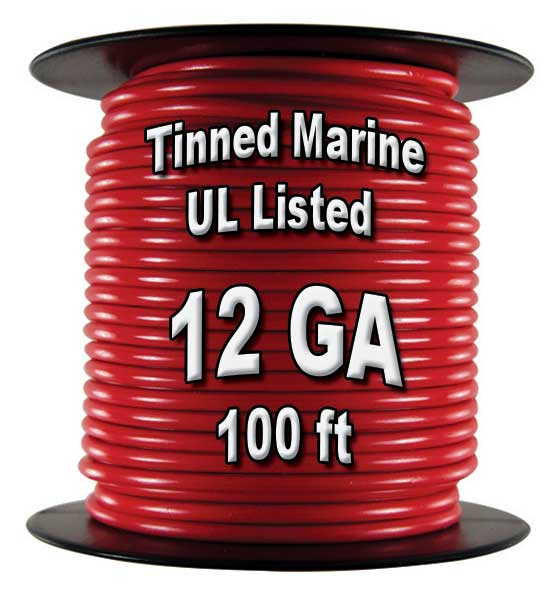 Tinned Marine Wire, 12 GA, 100 Ft Spool Tinned Marine Wire, 12 GA, 100 Ft Spool