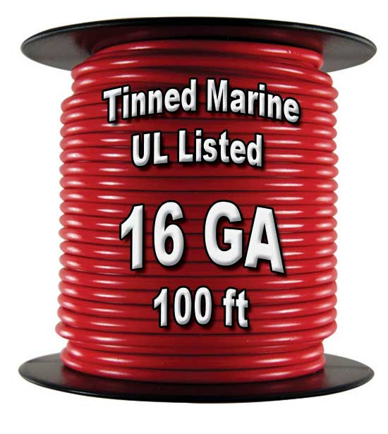 Tinned Marine Wire, 16 GA, 100 Ft Spool Tinned Marine Wire, 16 GA, 100 Ft Spool