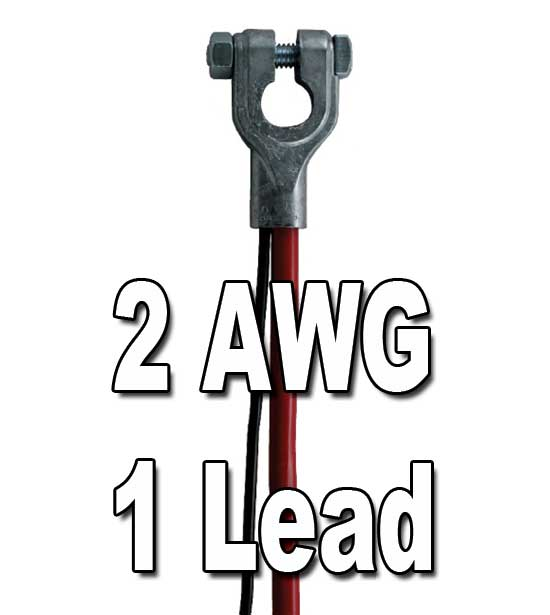 Top Post Battery Cable, 2 AWG, w/1 lead