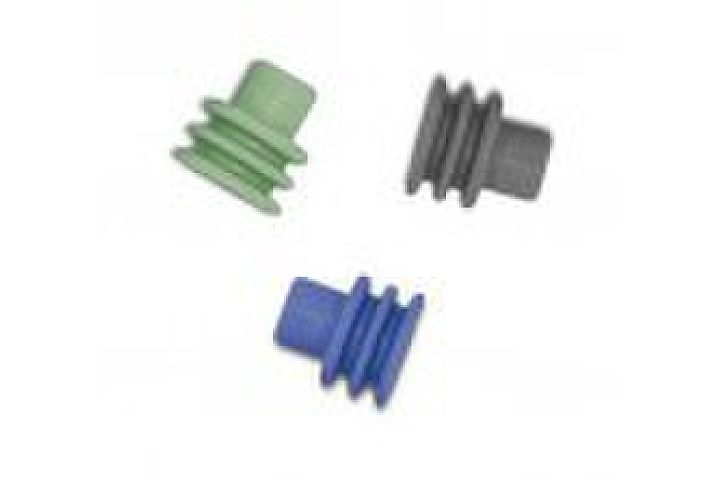 Weather Pack Cable Seals in Red, Blue, Purple, Green, and Gray